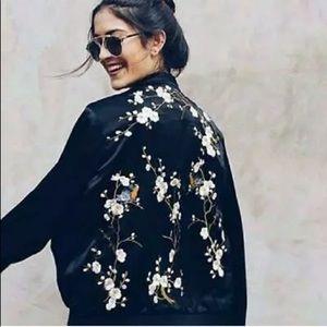 Zara Black Satin Bird Embroidered Bomber Jacket S